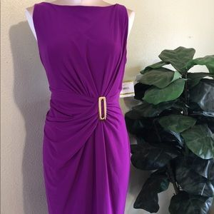 Fuchsia Anne Klein Gathered Front kneelength dress